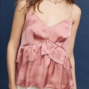 Anthropologie Maeve Harrison Pink Ruffle Cami
